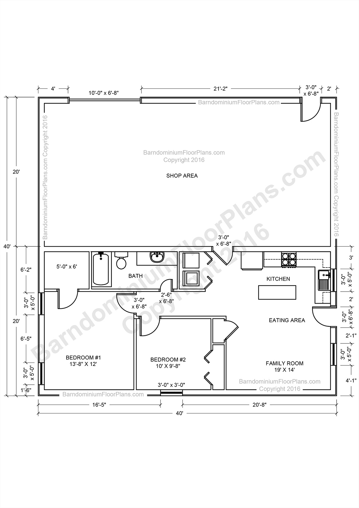 Barndominium floor plans pole barn house plans and metal for 16 x 50 floor plans