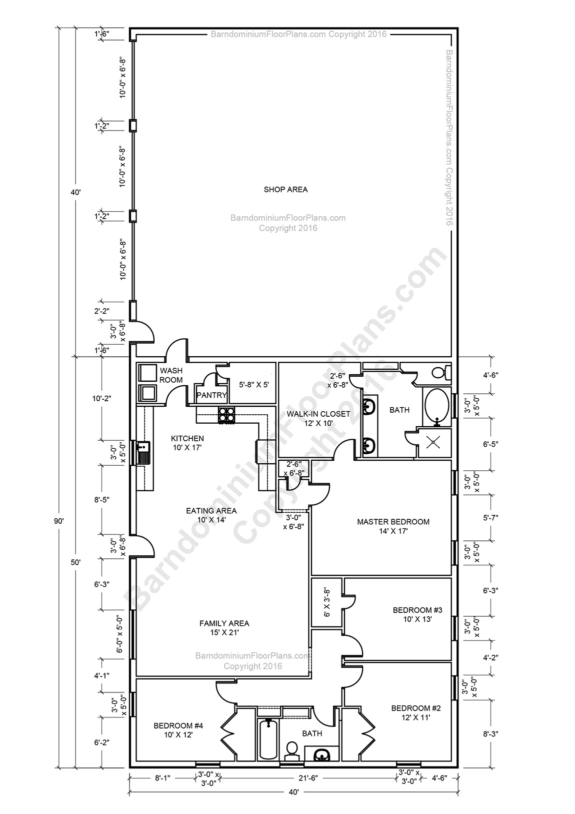 Barndominium floor plans pole barn house plans and metal for Metal homes floor plans