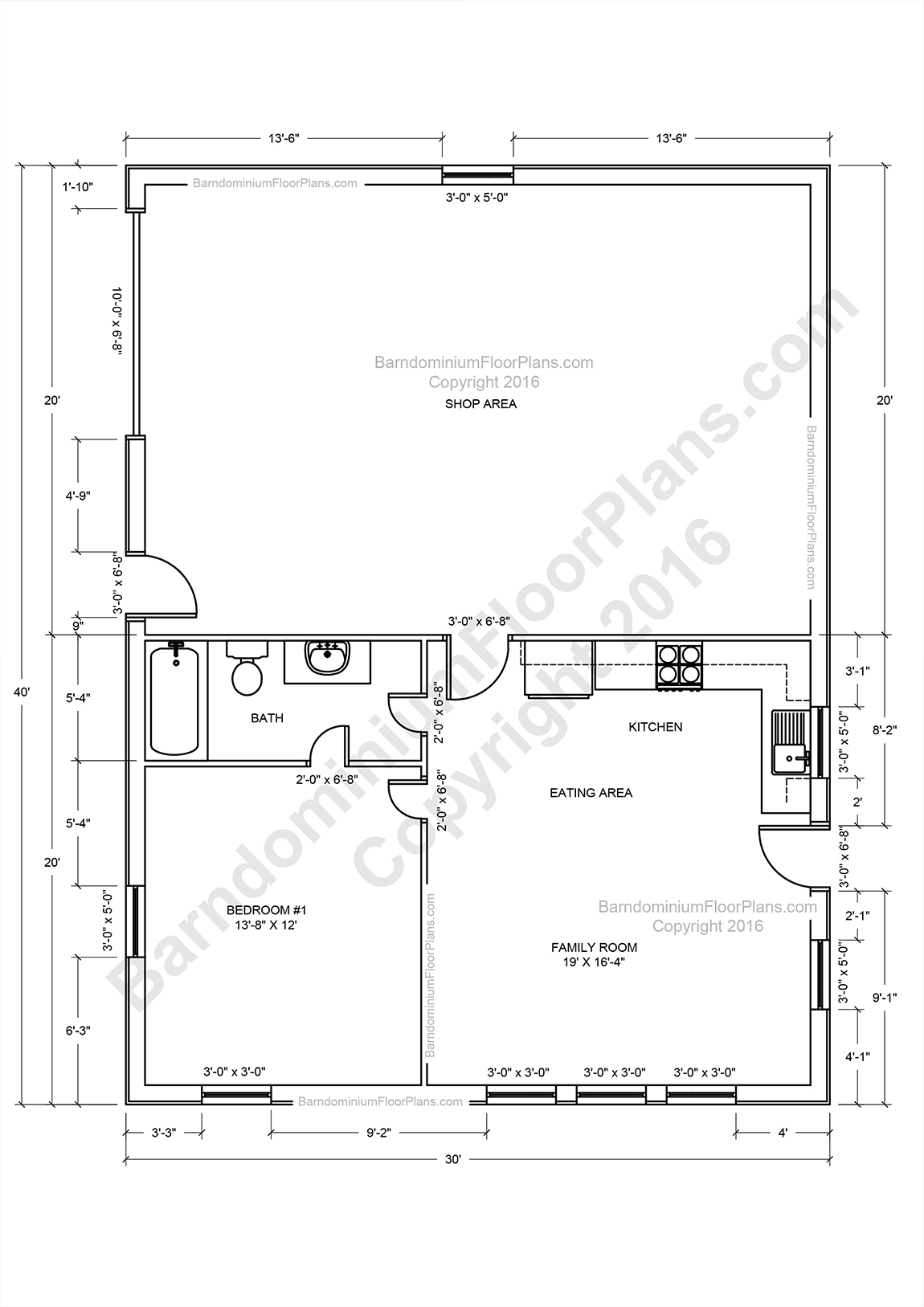 Pole barn home floor plans for Pole barn plans with living quarters