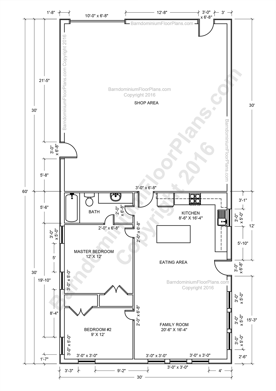 Barndominium floor plans pole barn house plans and metal for Shop floor plans