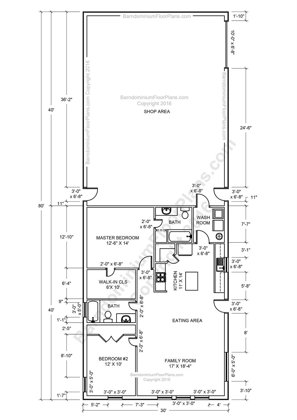 Pole barn living quarters floor plans for Barns with living quarters floor plans