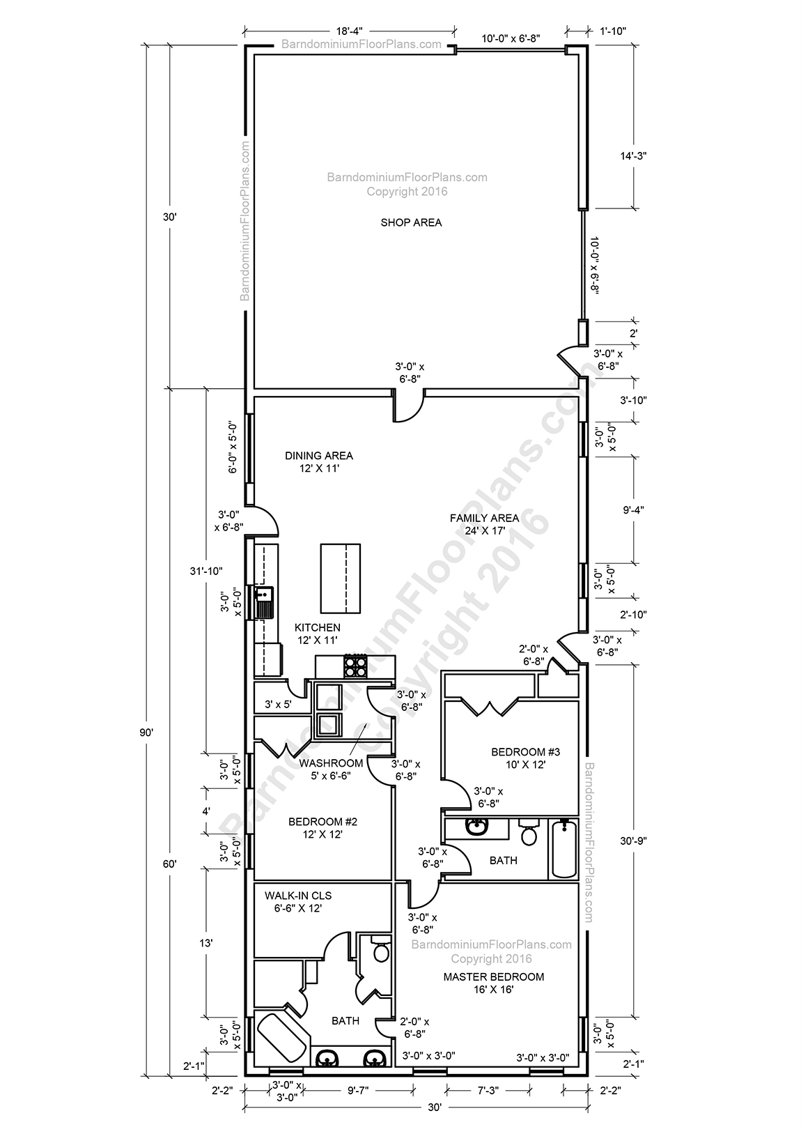 Barndominium floor plans pole barn house plans and metal for Small barn floor plans