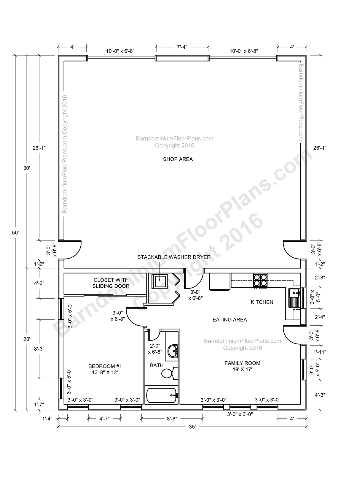 2 bedroom pole barn house floor plans for Two story pole building plans
