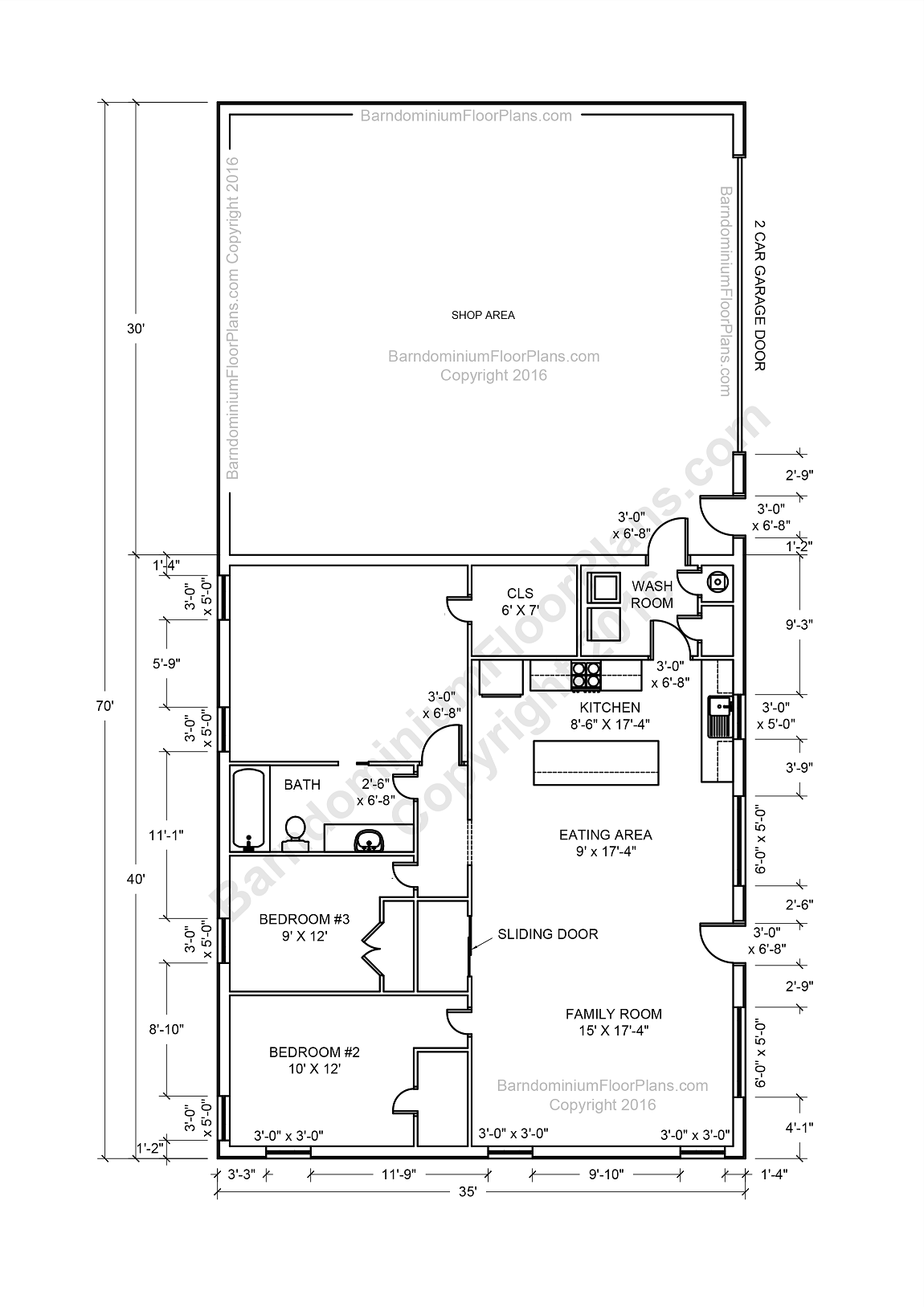Barndominium floor plans pole barn house plans and metal for 2 bedroom 2 bath open floor plans