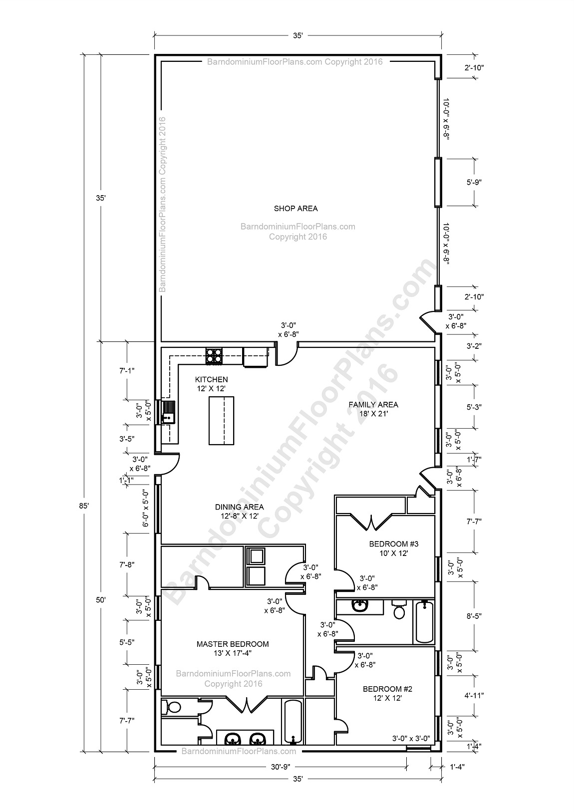 Barndominium floor plans pole barn house plans and metal Build 2 bedroom house