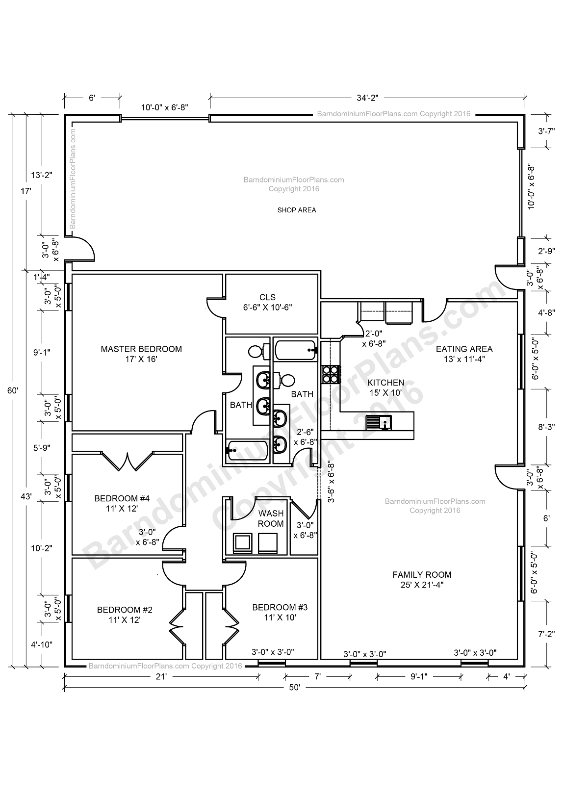 Barndominium floor plans pole barn house plans and metal for 4 bedroom barn house plans