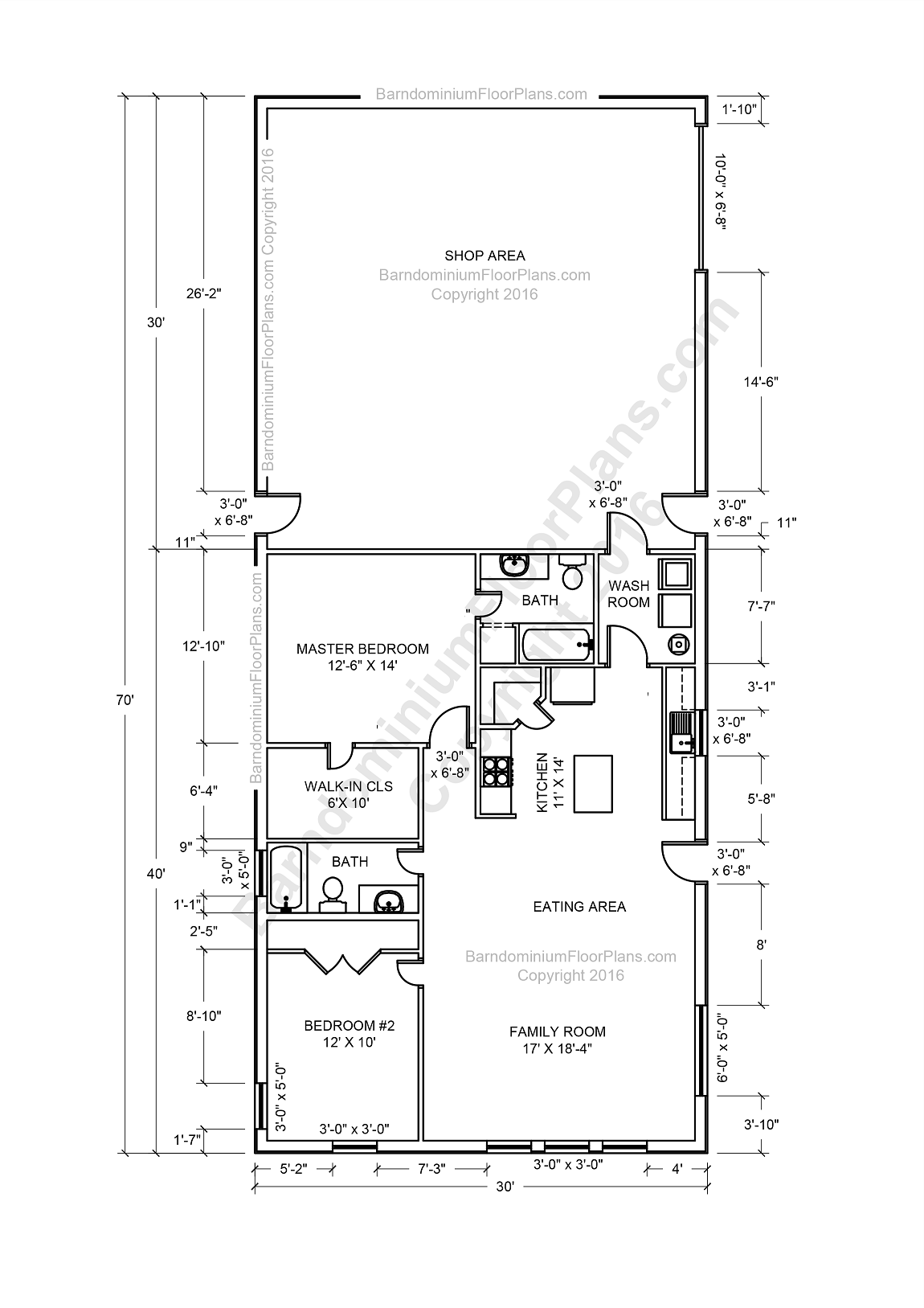 Barndominium floor plans pole barn house plans and metal for Two bedroom plan